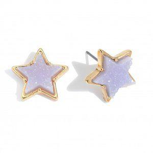 Druzy Star Stud Earrings - Lavender